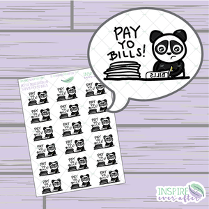 Stevie the Panda Pay Yo Bills Icon ~ Hand Drawn Petite Collection ~ Planner Stickers