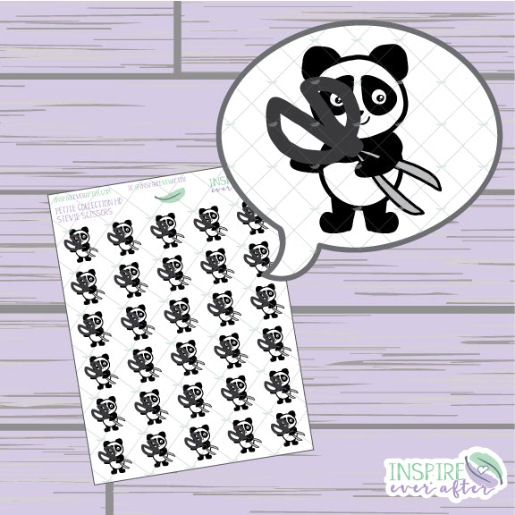 Stevie the Panda Scissors Icon ~ Hand Drawn Petite Collection ~ Planner Stickers