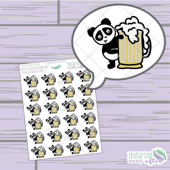 Stevie the Panda Beer Time ~ Hand Drawn Petite Collection ~ Planner Stickers