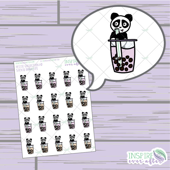 Stevie the Panda Boba Life ~ Hand Drawn Petite Collection ~ Planner Stickers