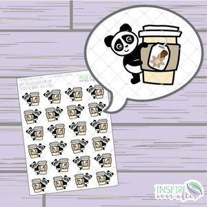 Stevie the Panda Chai Tea Life ~ Hand Drawn Character Beverage Icons ~ Petite Collection ~ Planner Stickers