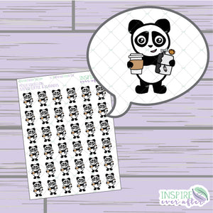 Stevie the Panda Coffee & Planner Life ~ Hand Drawn Characters Petite Collection ~ Planner Stickers
