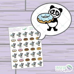 Stevie the Panda MMM Donuts ~ Hand Drawn Petite Collection ~ Planner Stickers