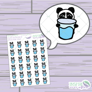 Stevie the Panda Drink More Water ~ Hand Drawn Self Care ~ Planner Stickers