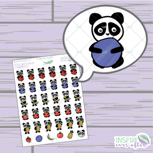 Stevie the Panda Fruit ~ Hand Drawn Petite Collection ~ Planner Stickers