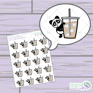 Stevie the Panda Iced Coffee Addict ~ Hand Drawn Petite Collection ~ Planner Stickers