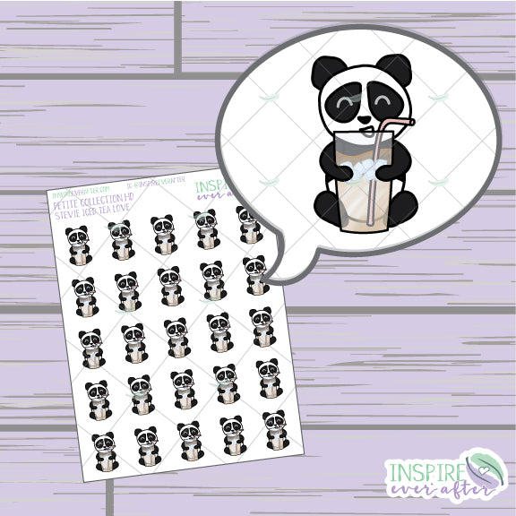 Stevie the Panda Iced Tea Love ~ Hand Drawn Petite Collection ~ Planner Stickers