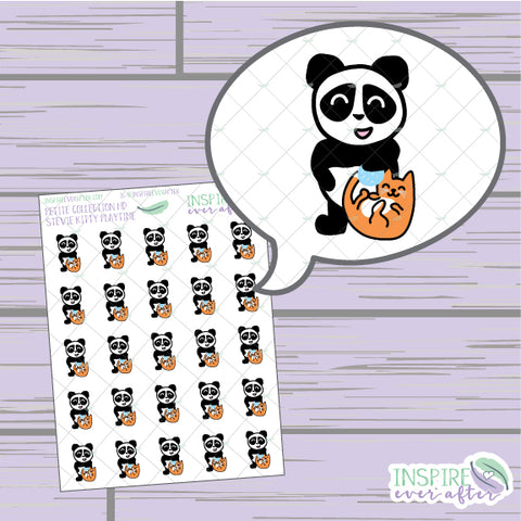 Stevie the Panda Playin' with Kitty ~ Hand Drawn Petite Collection ~ Planner Stickers