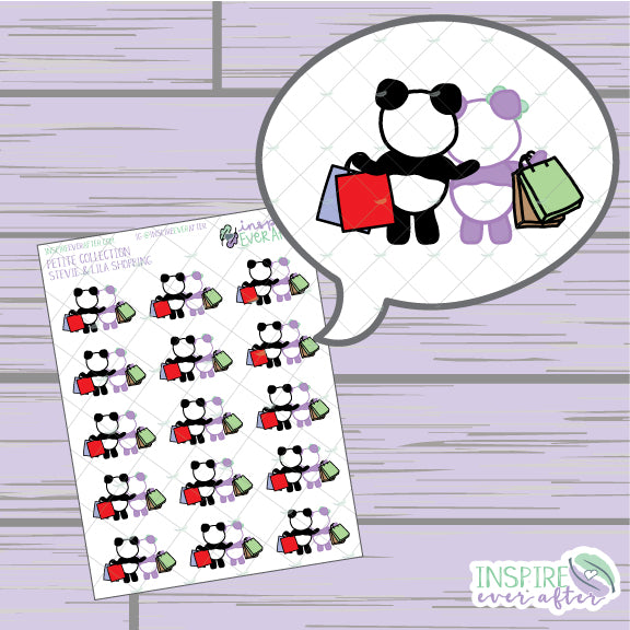 Stevie & Lila the Panda Shopping ~ Hand Drawn Characters Petite Collection ~ Planner Stickers