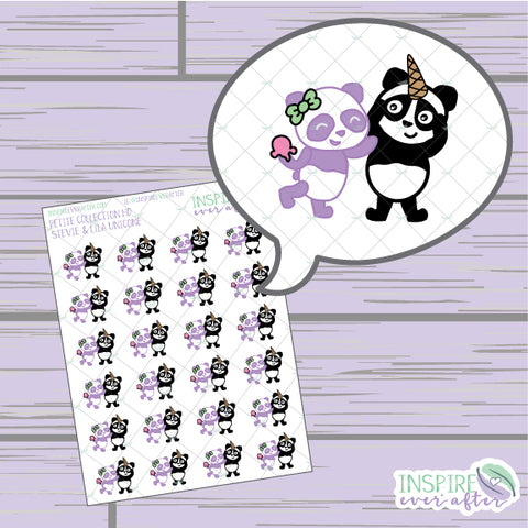 Stevie & Lila the Panda Unicone ~ Hand Drawn Petite Collection ~ Planner Stickers