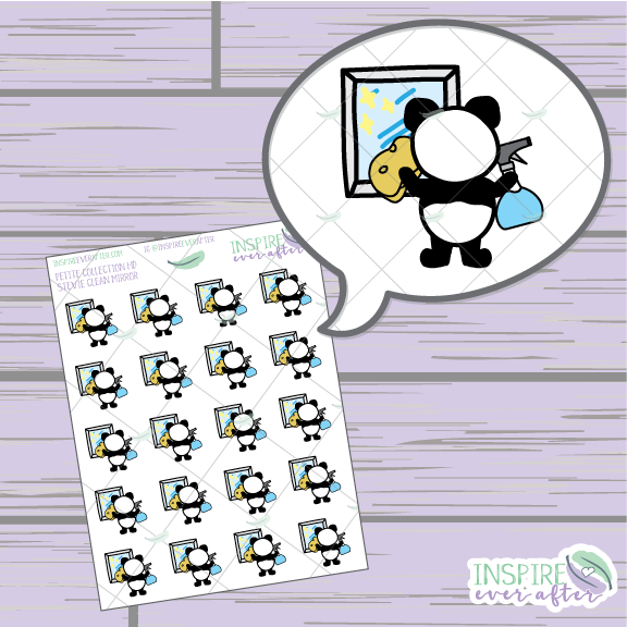 Stevie the Panda Clean Mirror ~ Hand Drawn Cleaning Icon ~ Petite Collection ~ Planner Stickers