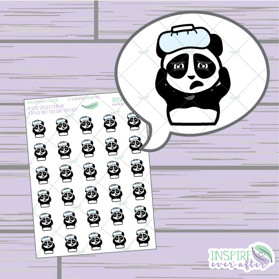 Stevie the Panda Not Feeling Too Hot ~ Hand Drawn Petite Collection ~ Planner Stickers