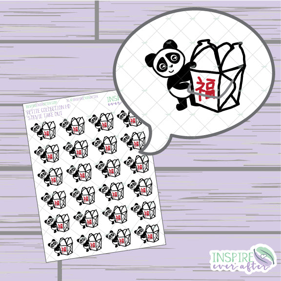 Stevie the Panda Take Out ~ Hand Drawn Foodie Icon Petite Collection ~ Planner Stickers