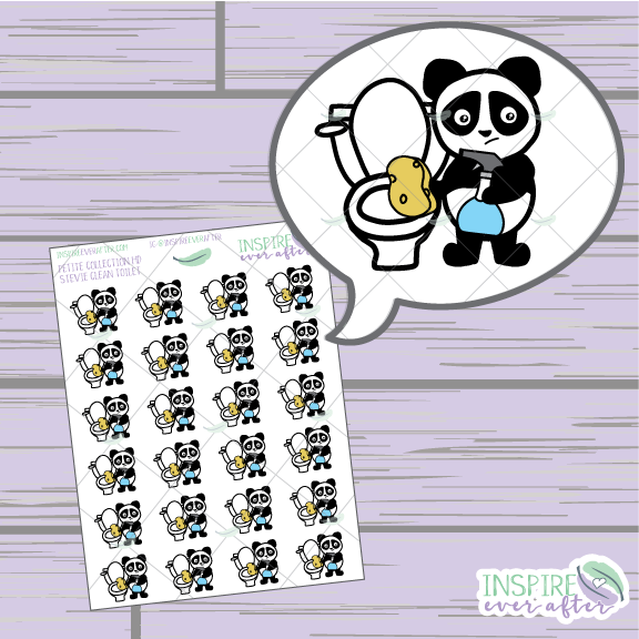 Stevie the Panda Clean Toilet ~ Hand Drawn Cleaning Icon ~ Petite Collection ~ Planner Stickers