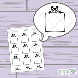 Stevie the Panda Top Peek Box ~ Hand Drawn Petite Collection ~ Planner Stickers