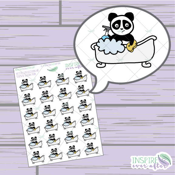 Stevie the Panda Clean Tub ~ Hand Drawn Cleaning Icon ~ Petite Collection ~ Planner Stickers
