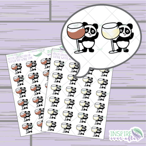 Stevie the Panda Wine Love ~ Red OR White Wine ~ Hand Drawn Petite Collection ~ Planner Stickers