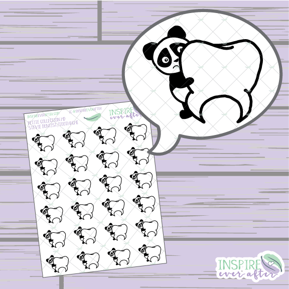 Stevie the Panda Dentist/ Toothache ~ Hand Drawn Petite Collection ~ Planner Stickers
