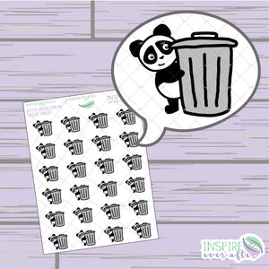Stevie the Panda Trash Icon ~ Hand Drawn Petite Collection ~ Planner Stickers