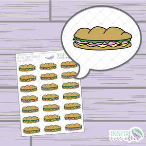Sub Sandwich ~ Hand Drawn Food ~ Petite Collection ~ Planner Stickers