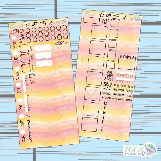 Summer Galaxy Hobonichi Weekly Kit ~ Hand Drawn Planner Stickers