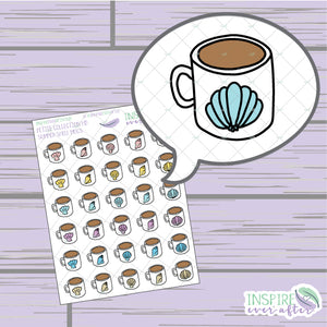 Summer Shell Coffee/Tea Mugs ~ Hand Drawn Petite Collection ~ Planner Stickers
