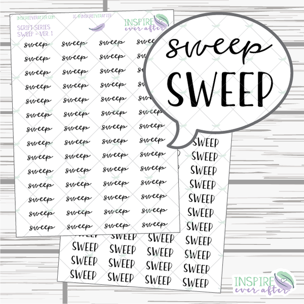 Sweep ~ Script OR Print ~ Script Series ~ Planner Stickers