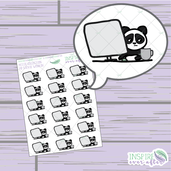 Stevie the Panda Workin' ~ Hand Drawn Petite Collection ~ Planner Stickers
