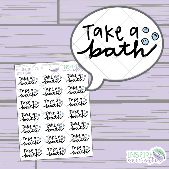 Take a Bath ~ Hand Drawn Self Care ~ Planner Stickers