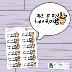 Take Yo Dog for a Walk Doodle ~ Hand Drawn Pet Care Collection ~ Planner Stickers