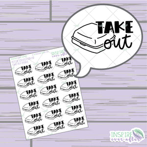 Take Out Doodle ~ Hand Drawn Petite Collection ~ Planner Stickers