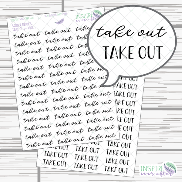 Take Out ~ Script OR Print ~ Script Series ~ Planner Stickers