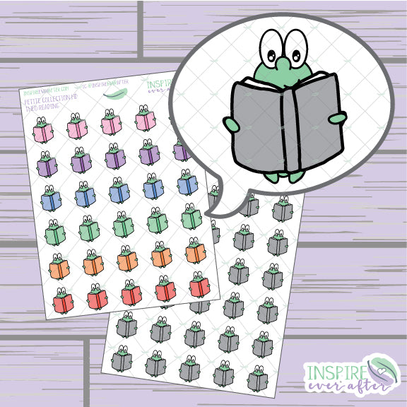 Theo the Turtle Reading Book Icon ~ Colorful OR Neutral ~ Hand Drawn Petite Collection ~ Planner Stickers