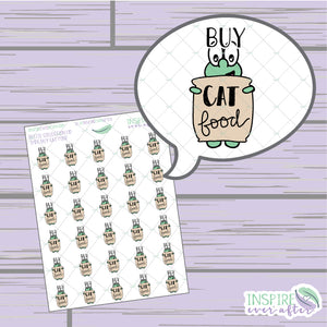 Theo the Turtle Buy Cat Food Icon ~ Hand Drawn Petite Collection ~ Planner Stickers