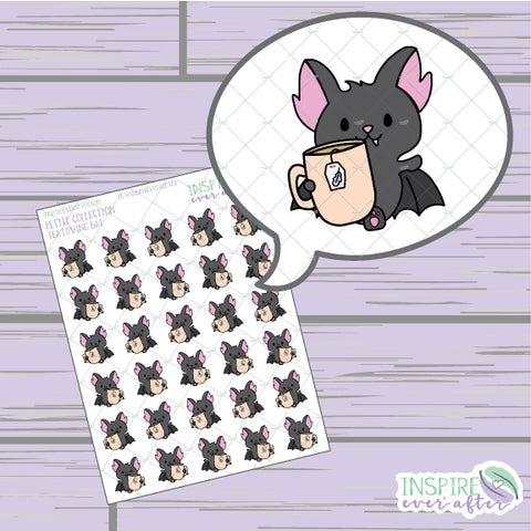 Tea Loving Bat ~ Hand Drawn Beverage Icons ~ Petite Collection ~ Planner Stickers