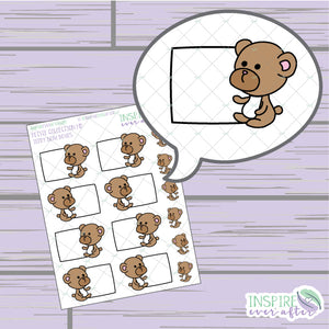Teddy Bear Box, Vol. 1 ~ Hand Drawn Petite Collection ~ Planner Stickers