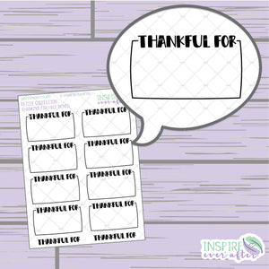 Thankful For Half Boxes ~ Hand Drawn Gratitude Icons ~ Petite Collection ~ Planner Stickers