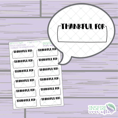 Thankful For Quarter Boxes ~ Hand Drawn Gratitude Icons ~ Petite Collection ~ Planner Stickers