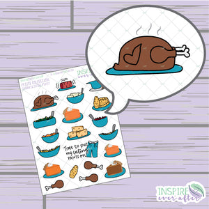 Thanksgiving Feast ~ Hand Drawn Holiday Food Deco ~ Petite Collection ~ Planner Stickers