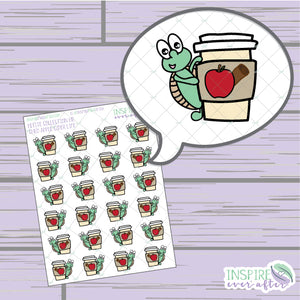 Theo the Turtle Apple Cider Life ~ Hand Drawn Character Beverage Icons ~ Petite Collection ~ Planner Stickers