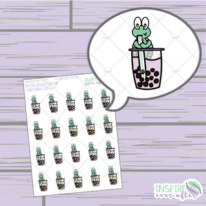 Theo the Turtle Boba Life ~ Hand Drawn Petite Collection ~ Planner Stickers