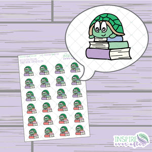 Theo the Turtle Book Top Chillin' ~ Hand Drawn Petite Collection ~ Planner Stickers