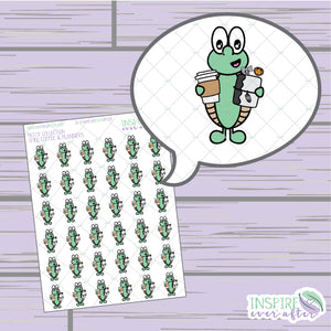 Theo the Turtle Coffee & Planner Life ~ Hand Drawn Character Petite Collection ~ Planner Stickers
