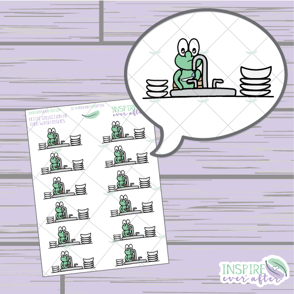 Theo the Turtle Wash Dishes ~ Hand Drawn Cleaning Icon ~ Petite Collection ~ Planner Stickers