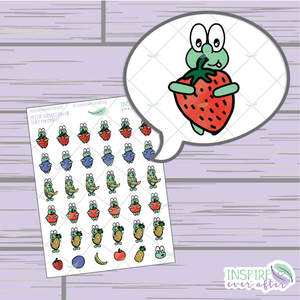 Theo the Turtle Fruit ~ Hand Drawn Petite Collection ~ Planner Stickers