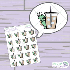 Theo the Turtle Iced Coffee Addict ~ Hand Drawn Petite Collection ~ Planner Stickers