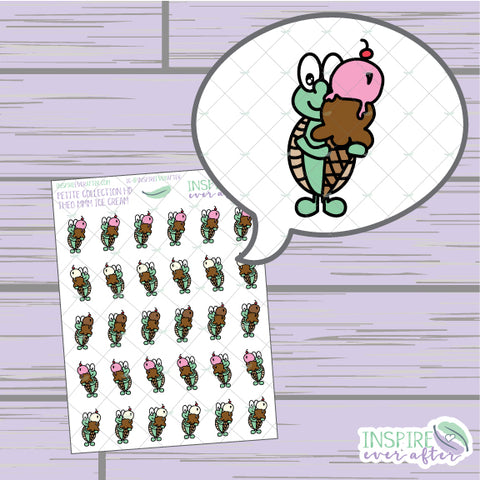 Theo the Turtle MMM Ice Cream ~ Hand Drawn Petite Collection ~ Planner Stickers