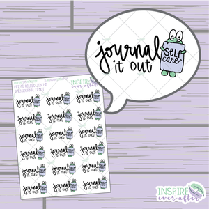 Theo the Turtle Journal it Out ~ Hand Drawn Self Care ~ Planner Stickers