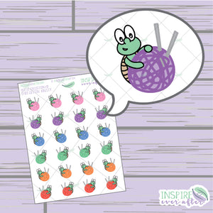 Theo the Turtle Gettin' Knitty ~ Hand Drawn Petite Collection ~ Planner Stickers