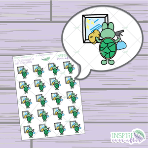 Theo the Turtle Clean Mirror ~ Hand Drawn Cleaning Icon ~ Petite Collection ~ Planner Stickers